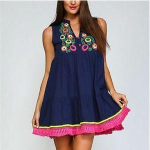 NWT Velzera embroidered tunic babydoll dress XS